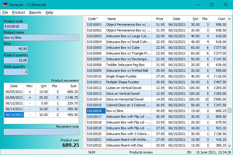 Storecalc full screenshot